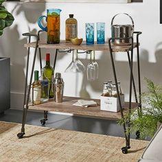 product image for Verona Home Gordon Wood/Metal Bar Cart in Brown