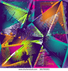 Abstract seamless chaotic pattern with urban geometric elements, scuffed, drops, sprays, triangles. Wallpaper for boys and girls - stock vector Music Graffiti, Graffiti Wall Art, Pattern Art, Abstract Pattern, Neon Spray Paint, Splash Images, Music Collage, Neon Design, Graphic Design