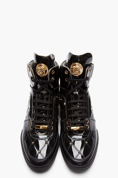 VERSACE Black Patent Leather Quilted High-Top Sneakers