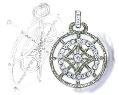 This Copley Medallion diamond pendant sketch was the first piece designed for Hearts On Fire's new collection by Italian designer Ilaria Lanzoni! #Copley #diamonds