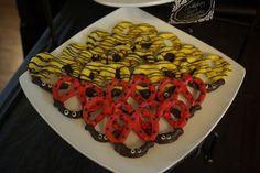Pretzel treats at a Bee and Ladybug Party #ladybug #bumblebee #party