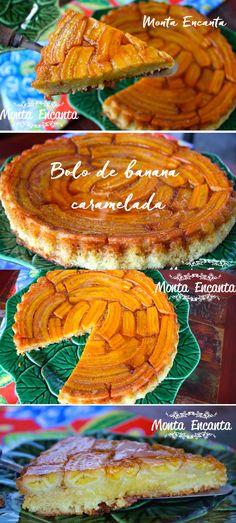 Bolo de Banana Caramelada, Banana macia, embebido pelo caramelo, a massa é fofa, amanteigada, uma delícia sem igual.