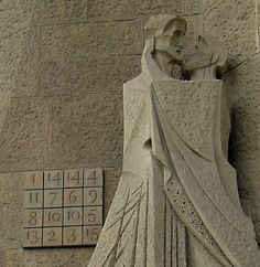 Dramatism, Coldness and Suffering expressed in the sculptures by Subirachs on the  Façana de la Passió - Judas's Kiss - Sagrada Familia - Barcelona, Catalonia.