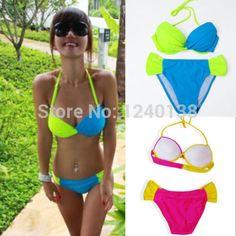 Details about Women's Strapless Push Up Bandeau Top Bottom Bikini Set Swimsuit Swimwear 2pcs