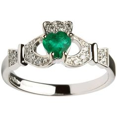 White Gold Diamond and Emerald Claddagh Ring | Blarney (£790) ❤ liked on Polyvore featuring jewelry, rings, white gold jewelry, white gold diamond rings, emerald diamond ring, emerald jewellery and emerald diamond jewelry