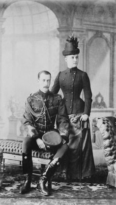 Grand Duke and Grand Duchess Paul Alexandrovitch c 1890 - First wife,  Princess Alexandra of Greece.  He was the eighth child of Tsar Alexander II of Russia by his first wife Empress Maria Alexandrovna.  He entered the Russian Army and rose to the rank of General, but was known as a gentle person, religious and accessible to people.  30 January 1919, he was killed by the Bolsheviks.