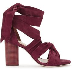 Raye Myra burgundy lace-up suede sandals found on Polyvore featuring shoes, sandals, high heel shoes, burgundy suede shoes, high heel sandals, burgundy sandals and burgundy shoes