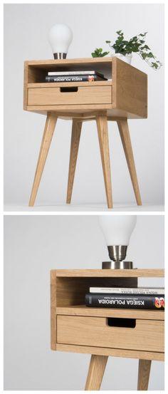 Minimalistisch wohnen: Kleines Nachtschränkchen aus massivem Holz in skandinavischem Design/ scandinavian design: small wooden nightstand made by MoWoodwork via DaWanda.com
