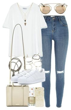Outfit for a casual spring day by ferned featuring a zippered tote Zara t shirt, 11 AUD / River Island destroyed jeans, 72 AUD / Adidas leather sneaker / Rebecca Minkoff zippered tote / Forever Look Fashion, Teen Fashion, Korean Fashion, Fashion Outfits, Fashion Photo, Spring Outfits, Trendy Outfits, Cool Outfits, Style Feminin