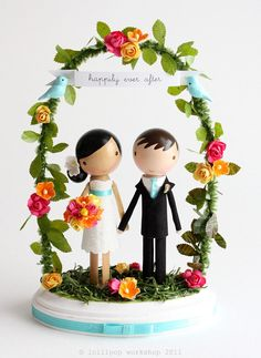 custom wedding cake topper  with arch by lollipopworkshop on Etsy, $175.00