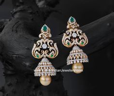 Diamond Peacock Long Jhumkas