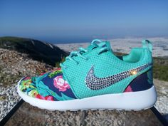 nike roshe run women athletic sneakers dark blue color sport shoes custom  with fabric floral and blinged with swarovski crystals by jwlstore on Etsy  ...