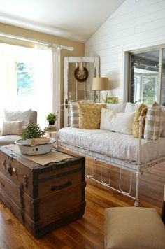 Vintage Crib Converted into Couch - Sarah Joy Antique Crib, Vintage Crib, Vintage Decor, Crib Bench, Iron Crib, Old Cribs, Cozy Couch, Banquette, Repurposed Furniture