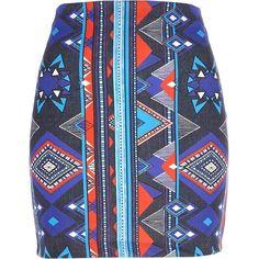 River Island Blue aztec print mini skirt ($12) ❤ liked on Polyvore featuring skirts, mini skirts, sale, short skirts, stretchy skirt, stretch mini skirt, short blue skirt and tube skirt