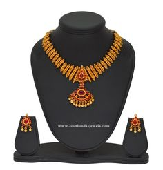 Kemp Attigai Necklace Designs, Kemp Ruby Necklace Designs, Gold Plated Kemp Necklace Collections.