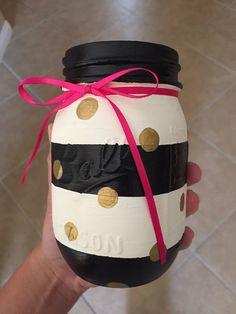 Kate Spade themed Mason Jar 1 jar by ValFalCreations on Etsy