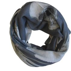ALVA-NORGE - Guns Charcoal Wool & Cashmere Scarf (£77) ❤ liked on Polyvore featuring accessories, scarves, skull shawl, woolen shawl, cashmere scarves, woolen scarves and wool scarves