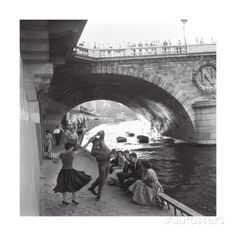 Rock 'n' Roll Dancers on Paris Quays, River Seine, 1950s Art Print