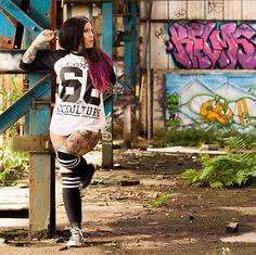 """Occulture 666"" Raglan Tee available at www.crmc-clothing.co.uk   WE SHIP WORLDWIDE Model - @crystalshipkelly #sixsixsix #tattooedwomen #hot #raglan #womenwithtattoos #tattooedmodels #beautiful #baseball #alternative #alternativefashion #alternativestyle #skatewear #fashionstatement #tattooartist #tattooist #need #want #fashion #redhairdontcare #redhair #styles #style #alternativeguy #alternativeboy #alternativegirl #alternativeteen"