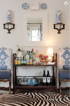Blue and White Bar: Jessica Walmsley Interiors