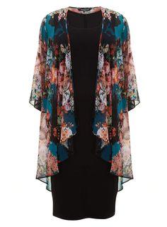 Scarlett & Jo Multicoloured Floral Waterfall Kimono With Black Dress – Plus Size Fashion Plus Size Dresses Uk, Plus Size Outfits, Modest Fashion, Hijab Fashion, Fashion Outfits, Curves Clothing, Chiffon Kimono, Vetement Fashion, Dress Sewing Patterns
