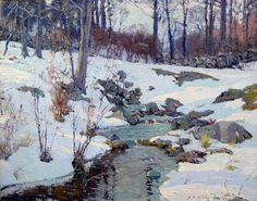 a. t. hibbard paintings   winter brook signed a t hibbard lower right oil on