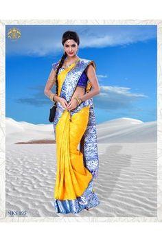 silk saree,Neerus,Yellow Kanchipuram Silk Saree With Blouse