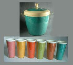 1950's Ice Bucket 6 Tumblers Bar Ware