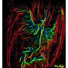 Neon Phoenix Rising Abstract Impression of a phoenix exploding into flame. 75 x 50 cm 30 x 20 Construction & Printing How are Phoenix Bird, Wildlife Nature, Painted Signs, Dog Cat, Neon, Fantasy, Art Prints, Abstract, Digital