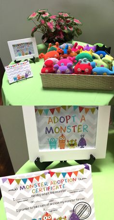 ♥ A cute addition to your little one's monster bash! Let them pick a monster and sign the adopt a monster certificate! Little Monster Birthday, Monster 1st Birthdays, Monster Birthday Parties, 1st Boy Birthday, Birthday Party Favors, First Birthdays, Birthday Table, Birthday Ideas, Monster Party Favors