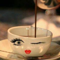 wink creative cup with coffe I Love Coffee, Coffee Break, My Coffee, Morning Coffee, Coffee Mugs, Cheap Coffee, Coffee Barista, Coffee Girl, Bar Kunst