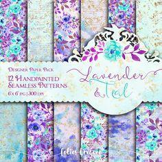 Lavender and Teal Digital Paper Pack Watercolor by FoliesBergere