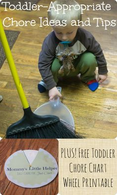 Toddler appropriate chore ideas and tips, with a free printable chore chart wheel!