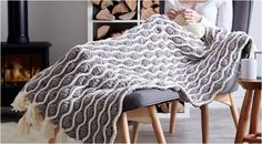 This incredibly beautiful knitted afghan will definitely brighten any home. Place one on the couch, bedroom, or reading nook for that ultra comfy ...