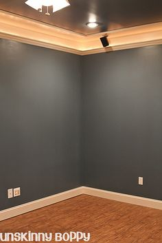 These basement ceilings are a knockout: a standard piece of crown molding affixe. These basement ceilings are a knockout: a standard piece of crown molding affixed to the wall about Basement Paint Colors, Basement Painting, Basement Layout, Room Paint Colors, Basement Walls, Basement Bedrooms, Basement Ideas, Basement Man Caves, Playroom Paint