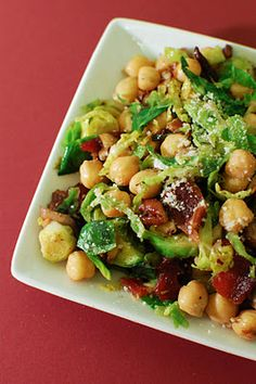 Warm Chickpea, Mushroom, and Brussels Sprouts Salad