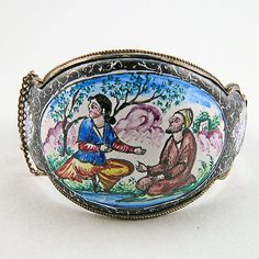 Vintage Silver Bangle Painted Persian Jewelry Ethnic Jewelry 800 Silver Jewelry Vintage Jewellery