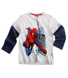 Spiderman T-shirt manches longues blanc Enfant Garcon par UnCadeauUnSourire.com