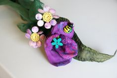Purple Posey Handmade Fabric Tulip Stem, Everlasting Bouquet for Wedding, Bridal Eco Friendly