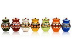 Spice Jars Big of Ivan's Line by Troyan Pottery Kitchen Spice Racks, Spice Jars, Ceramic Clay, Porcelain Ceramics, Spice Shaker, Mish Mash, Black Sea, My Heritage, Bulgarian