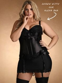 Burlesque Plus Size Corset. This is adorable, but why all black? Of course my hubby has to like bright colors, and they don't really make things like this in bright colors.