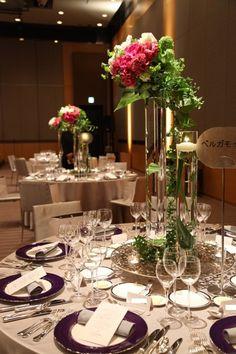 グランド ハイアット 東京(Grand Hyatt Tokyo),シルバー&ピンクのテーブルコーディネート 3,花嫁 写真
