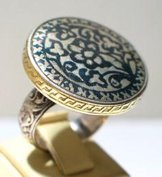 North Iran niello silver ring. JL Coll.