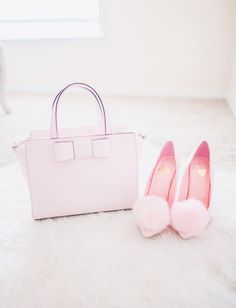 fit and flare dress, pink heels, pom pom heels, kate spade handbag, pearl necklace