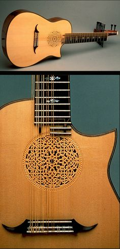 Ervin Somogyi  lute with beautiful sound hole- a MOST POPULAR RE-PIN. RESEARCH by #DdO:) - http://www.pinterest.com/DianaDeeOsborne/instruments-for-joy/ - Stringed instrument building from thin sheets of musical grade tone woods. Mosaic inlay patterns from  guitarmaking design of open soundholes bordered with inlaid patterns of dyed pieces of wood, called rosettes. Somogyi's work embraces #WORLD #MUSIC:  Japanese, Russian, African, primitive, abstract and modern design.