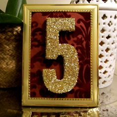 Red & Gold Glitter Wedding Table Numbers // Set of 10 // by TheGarrettGroup, $165.00