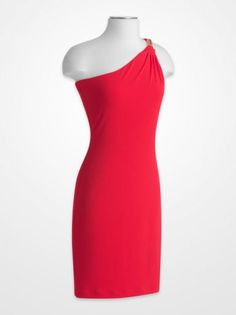 686ba6ddcba Women s Dresses - Calvin Klein Red One-Shoulder Jersey Dress - K Fashion  Superstore Calvin