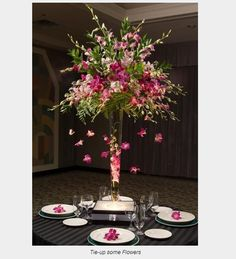 Flower Centerpiece in skinny vases.
