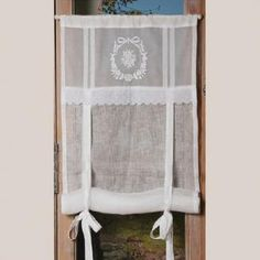 "Result of the image search for ""Linen and lace curtain"" Result of the image search … – Curtains 2020 Tie Up Curtains, French Curtains, Vintage Curtains, Cool Curtains, Curtains With Blinds, Window Curtains, Country Style Curtains, Decoration Chic, Room Divider Curtain"