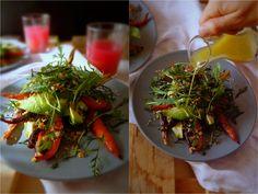Roasted carrot salad, with orange flavored crumbs, and roasted garlic dressing. Vegetarian, vegan, gluten free @ mytinygreenkitchen.com